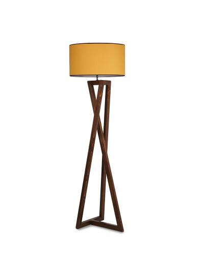 Φωτιστικό δαπέδου PWL-0126 pakoworld ξύλο καρυδί - καπέλο κίτρινο Φ45x43x166εκ 071-000842