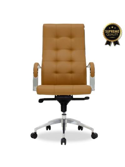 Καρέκλα γραφείου διευθυντή Alabama pakoworld SUPREME QUALITY με καφέ-ταμπά τεχνόδερμα