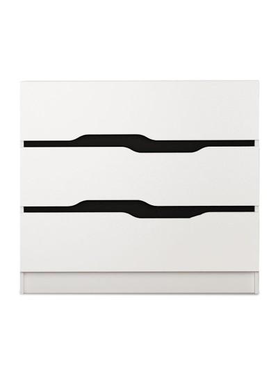 Συρταριέρα Comfy pakoworld με τρία συρτάρια χρώμα λευκό-μαύρο 100x38,5x71εκ