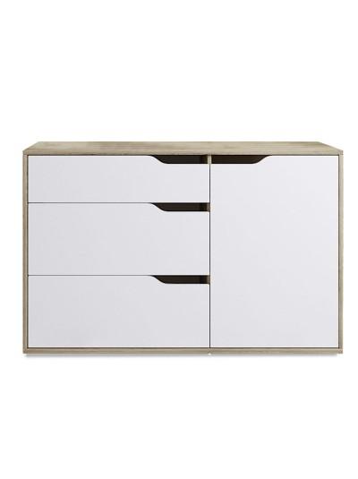 Συρταριέρα Symmetry pakoworld με τρία συρτάρια χρώμα λευκό-φυσικό 120x40x70εκ