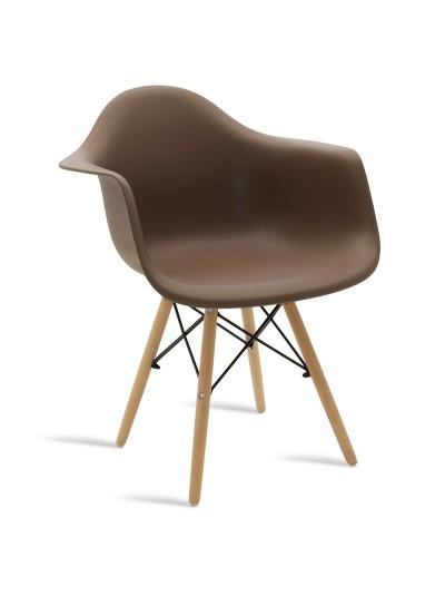 Πολυθρόνα Julita pakoworld πολυπροπυλενίου χρώμα μόκα - φυσικό