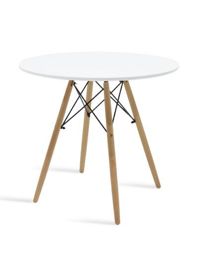 Τραπέζι Julita pakoworld Φ80 επιφάνεια MDF λευκό