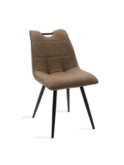 Καρέκλα Nely pakoworld μεταλλική μαύρη με pu σκούρο καφέ antique