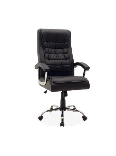 Καρέκλα γραφείου διευθυντή Cannon pakoworld σκελετός χρωμίου-pu χρώμα μαύρο