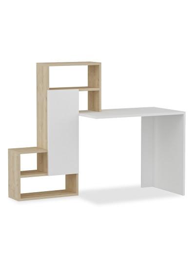 Γραφείο με ραφιέρα Irma pakoworld χρώμα λευκό-φυσικό 138.5x55x119εκ