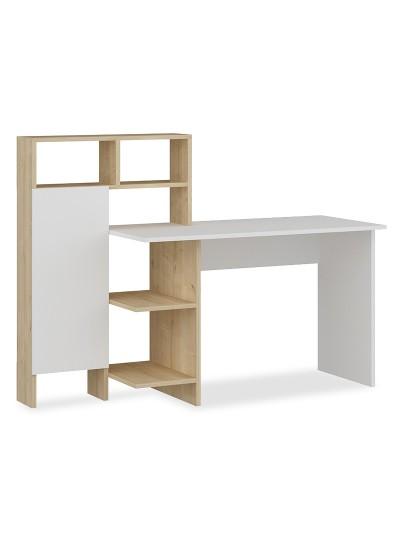 Γραφείο με βιβλιοθήκη Slate pakoworld χρώμα λευκό-φυσικό 120x60x112εκ