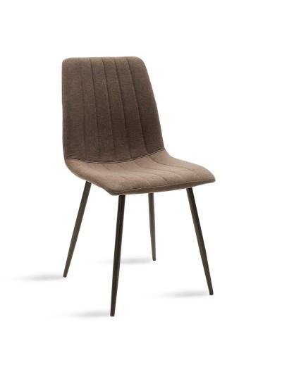 Καρέκλα Noor pakoworld μεταλλική μαύρη με ύφασμα καφέ