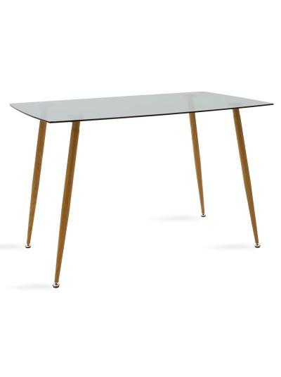 Τραπέζι Chloe pakoworld γυάλινο 8χιλ ανθρακί - πόδι φυσικό 120x70x75εκ