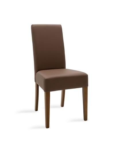 Καρέκλα Ditta pakoworld ανοικτό καφέ τεχνόδερμα - πόδια ξύλο μασίφ καρυδί