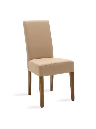 Καρέκλα Ditta pakoworld μόκα τεχνόδερμα - πόδια ξύλο μασίφ καρυδί