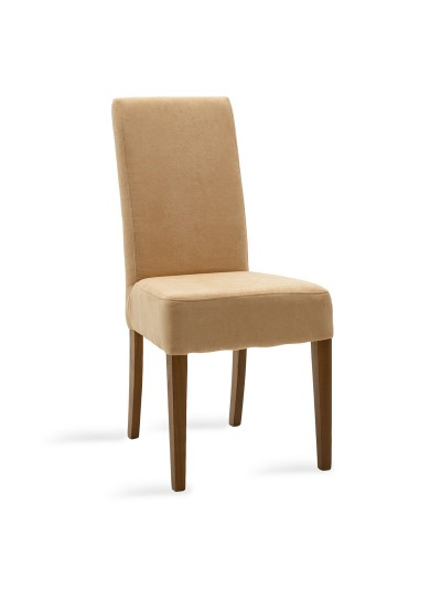 Καρέκλα Ditta pakoworld μπεζ ύφασμα - πόδια ξύλο μασίφ καρυδί