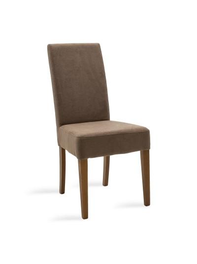 Καρέκλα Ditta pakoworld ανοικτό καφέ ύφασμα - πόδια ξύλο μασίφ καρυδί