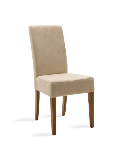 Καρέκλα Ditta pakoworld εκρού ύφασμα - πόδια ξύλο μασίφ καρυδί