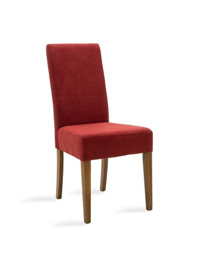 Καρέκλα Ditta pakoworld κόκκινο ύφασμα - πόδια ξύλο μασίφ καρυδί