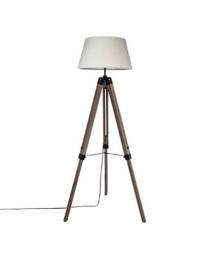 Ρυθμιζόμενο φωτιστικό δαπέδου Runo pakoworld χρώμα καφέ-καπέλο λευκό Φ46x145εκ