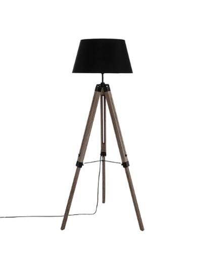 Ρυθμιζόμενο φωτιστικό δαπέδου Runo pakoworld χρώμα καφέ-καπέλο μαύρο Φ46x145εκ
