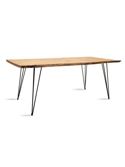 Τραπέζι Rich pakoworld μασίφ ξύλο χρώμα καρυδί-πόδι μέταλλο μαύρο 200x93x79εκ