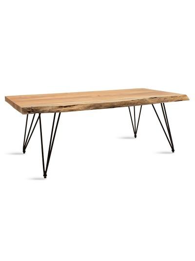Τραπέζι σαλονιού Rich pakoworld μασίφ ξύλο 4εκ καρυδί-πόδι μαύρο 130x69x46εκ