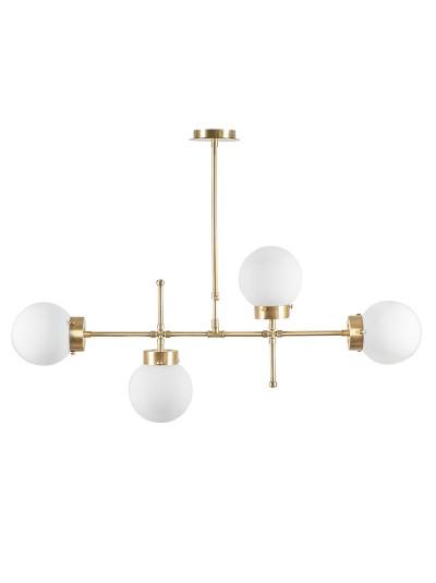 Φωτιστικό οροφής τετράφωτο PWL-0156 pakoworld χρώμα λευκό-χρυσό 98x15x80εκ