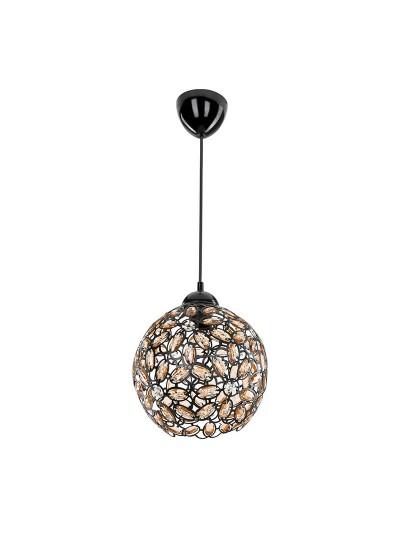 Φωτιστικό οροφής PWL-0958 pakoworld μαύρο με κρύσταλλα Φ23x71εκ