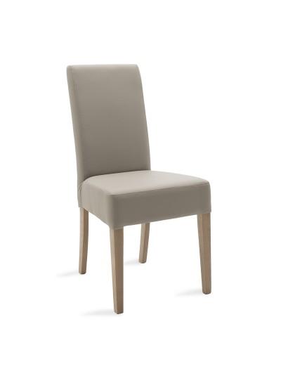 Καρέκλα Ditta pakoworld γκρι τεχνόδερμα - πόδια ξύλο μασίφ sonoma
