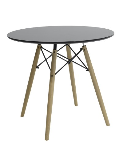 Τραπέζι Julita pakoworld Φ80 επιφάνεια MDF μαύρο gloss