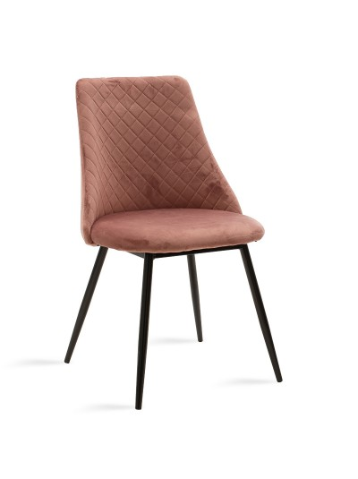 Καρέκλα Giselle pakoworld μαύρο-ύφασμα βελουτέ σάπιο μήλο