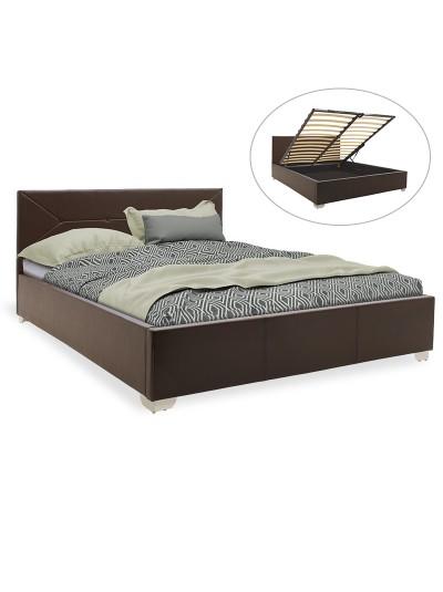 Κρεβάτι Smooth pakoworld διπλό pu σκούρο καφέ με αποθηκευτικό χώρο 160x200εκ