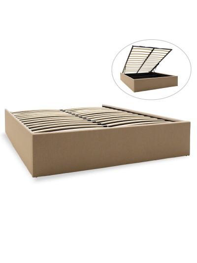 Υπόστρωμα κρεβατιού Tiger pakoworld διπλό ύφασμα μπεζ με αποθηκευτικό χώρο 150x200εκ