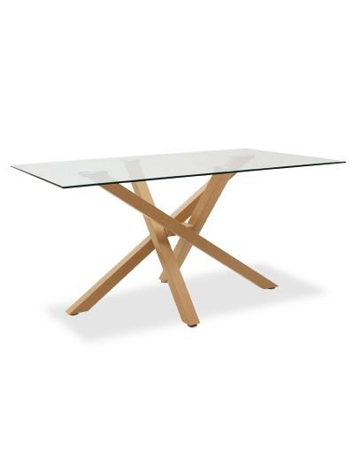 Τραπέζι Nash pakoworld γυαλί 10mm μεταλλικό χρώμα φυσικό 150x90x73εκ