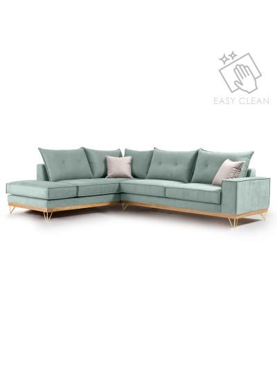 Γωνιακός καναπές δεξιά γωνία Luxury II pakoworld ύφασμα ciel-cream 290x235x95εκ