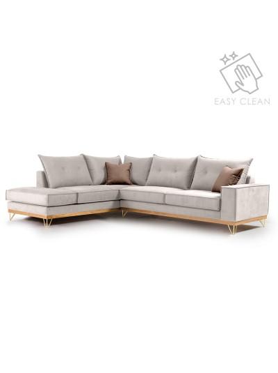 Γωνιακός καναπές δεξιά γωνία Luxury II pakoworld ύφασμα cream-mocha 290x235x90εκ