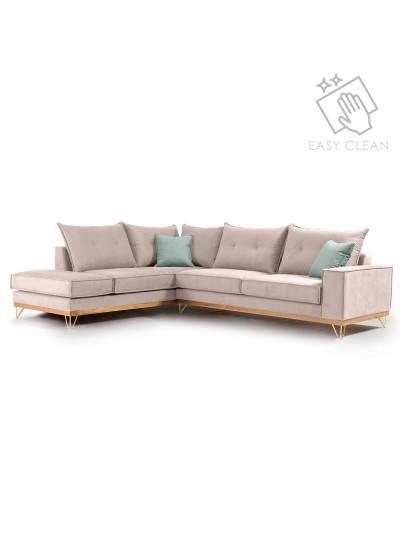Γωνιακός καναπές δεξιά γωνία Luxury II pakoworld ύφασμα elephant-ciel 290x235x95εκ