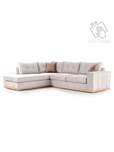 Γωνιακός καναπές δεξιά γωνία Boston pakoworld ύφασμα cream-mocha 280x225x90εκ