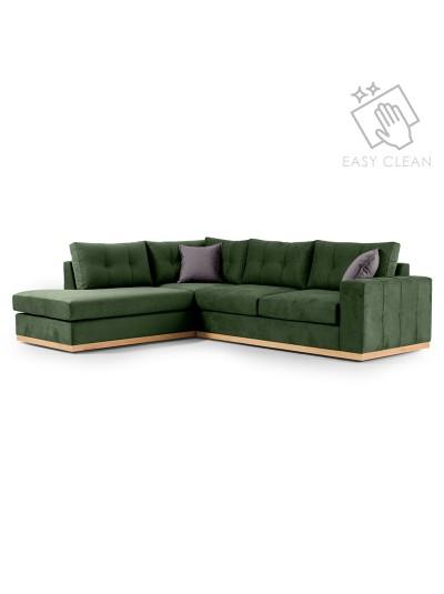 Γωνιακός καναπές δεξιά γωνία Boston pakoworld ύφασμα κυπαρισσί-ανθρακί 280x225x90εκ