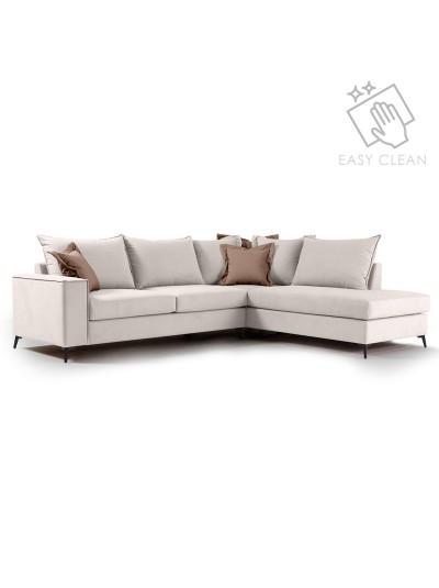 Γωνιακός καναπές αριστερή γωνία Romantic pakoworld ύφασμα cream-mocha 290x235x95εκ