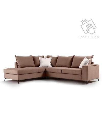 Γωνιακός καναπές δεξιά γωνία Romantic pakoworld ύφασμα mocha-cream 290x235x95εκ