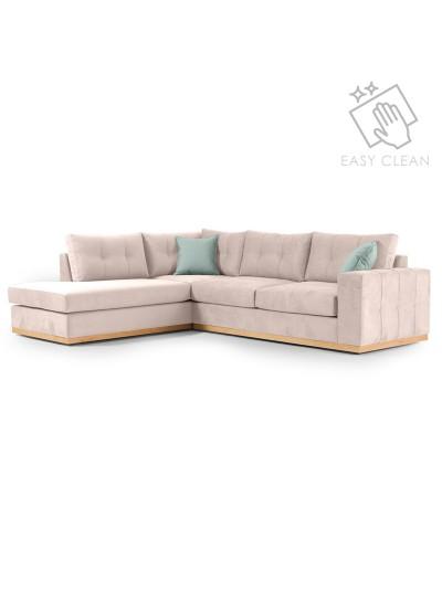 Γωνιακός καναπές δεξιά γωνία Boston pakoworld ύφασμα elephant-ciel 280x225x90εκ