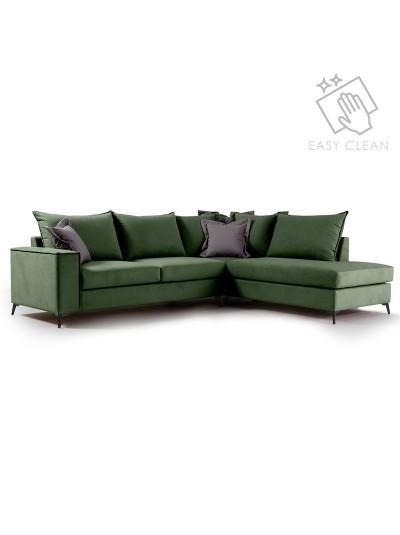 Γωνιακός καναπές αριστερή γωνία Romantic pakoworld ύφασμα κυπαρισσί-ανθρακί 290x235x95εκ