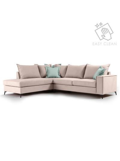 Γωνιακός καναπές δεξιά γωνία Romantic pakoworld ύφασμα elephant-ciel 290x235x95εκ