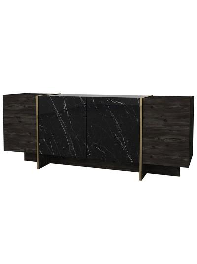 Μπουφές PWF-0455 pakoworld μαύρο-χρυσό 180x46,5x75,5εκ