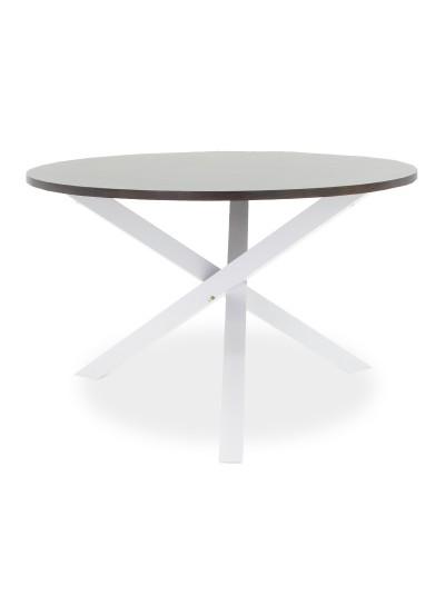 Tραπέζι Hug pakoworld ξύλο-MDF λευκό-καρυδί 120x120x75,5εκ