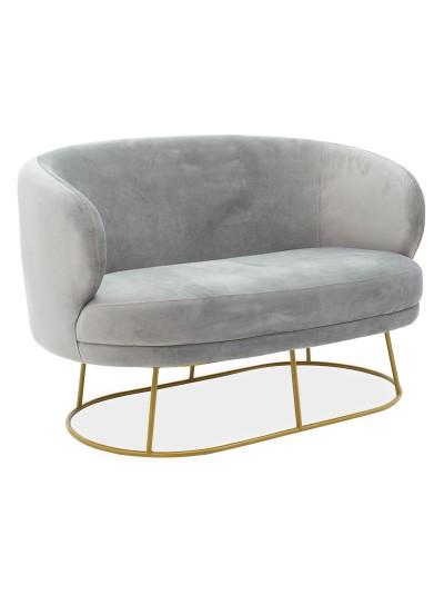 Καναπές 2θέσιος Gloria pakoworld βελούδο γκρι-χρυσό 132x82x83εκ