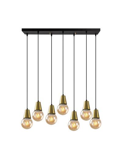 Φωτιστικό οροφής επτάφωτο PWL-0189 pakoworld μαύρο-bronze 80x24x104εκ