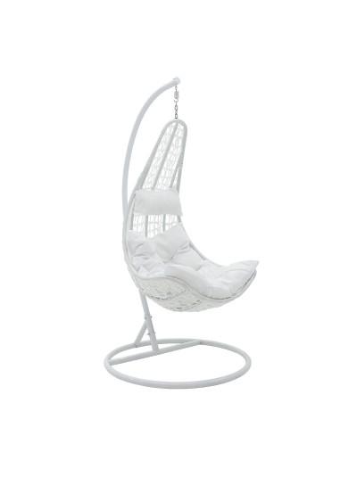 Κούνια κήπου Soleil pakoworld κρεμαστή μέταλλο-pp-μαξιλάρι λευκό 103x83x200εκ