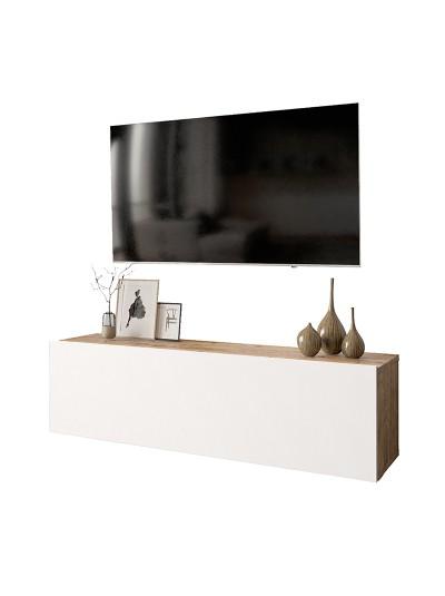 Έπιπλο τηλεόρασης επιτοίχιο Serit pakoworld λευκό-oak 100x31,5x29,5εκ