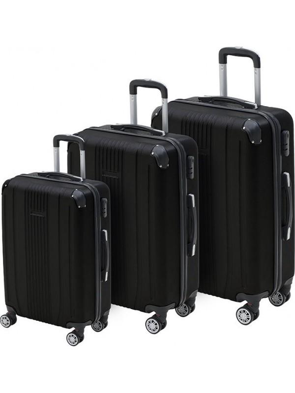 INART Βαλίτσα Ταξιδιού Σετ Των 3 Μαύρο Χρώμα Κωδικός: 6-70-059-0056