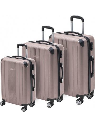 INART Βαλίτσα Ταξιδιού Σετ Των 3 Ροζ Χρυσό Χρώμα Κωδικός: 6-70-059-0058