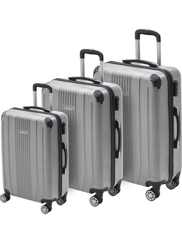 INART Βαλίτσα Ταξιδιού Σετ Των 3 Ασημί Χρώμα Κωδικός: 6-70-059-0059