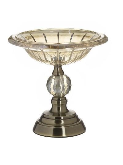 INART Γυάλινο Μπωλ Με Μεταλλικό Χρυσό Πόδι Κωδικός: 3-70-151-0138 Διαστάσεις: 23Χ22 Εκατοστά